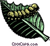Vector Clipart graphic  of a caterpillar on leaf