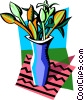 Vector Clip Art image  of a vase of flowers