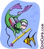 Vector Clipart illustration  of a scuba diver