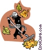 Vector Clip Art graphic  of a yard worker