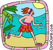 jogging on the beach Vector Clip Art picture