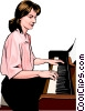 Vector Clip Art graphic  of a pianist