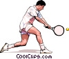 Vector Clip Art graphic  of a Tennis player
