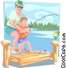 Father and son fishing from dock Vector Clip Art picture