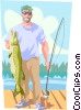 Vector Clip Art graphic  of a Fishermen with large fish