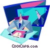 looking over his shoulder Vector Clipart illustration