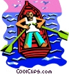 Vector Clip Art graphic  of a Man in rowboat