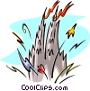 Castle with fireworks Vector Clip Art image