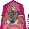 Vector Clipart picture  of a performer with hula hoops on