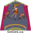 tightrope walker with monkeys Vector Clip Art picture