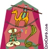tightrope walker on camel, snake charmer Vector Clipart graphic