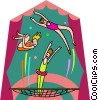 Vector Clip Art image  of a bouncing girls on trampoline