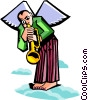 Vector Clipart graphic  of an angel playing trumpet