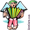angel playing accordion Vector Clipart illustration