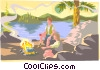 People sitting by camp fire Vector Clip Art picture