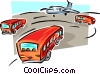 Vector Clip Art graphic  of a buses approaching plane