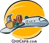 luggage on wing of plane Vector Clipart illustration