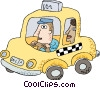 Vector Clip Art graphic  of a taxicab