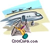Vector Clipart graphic  of a vacationers leaving plane