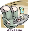 Vector Clip Art graphic  of a Passenger seats on a plane with food tray