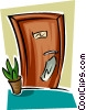 Vector Clip Art image  of a hotel room door