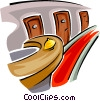 Vector Clip Art graphic  of a service desk in a hotel