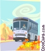 Bus on desert road Vector Clipart image