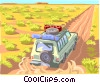 Traveling station wagon down country road Vector Clip Art picture