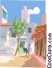 man guiding mule into city Vector Clip Art image