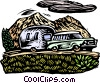 Vector Clip Art graphic  of a Car pulling camper