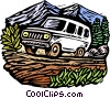 Vector Clip Art graphic  of a Sport utility vehicle
