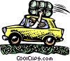 Vector Clipart picture  of a waving woman in car