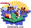 Vector Clip Art picture  of a tourist on island