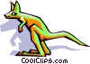 Vector Clip Art graphic  of a stylized kangaroo