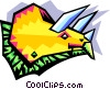stylized dinosaur - triceratops Vector Clipart illustration