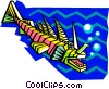 Vector Clipart graphic  of a stylized prehistoric fish