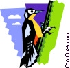 stylized woodpecker Vector Clipart graphic