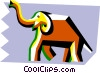 stylized elephant Vector Clip Art graphic
