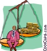Vector Clip Art image  of a scales weighing the