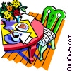 Vector Clip Art picture  of a food and dining/dinner table