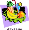 Vector Clip Art image  of an assorted fruits and tropical