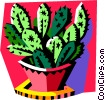 Vector Clipart graphic  of a cactus in pot