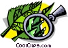 Vector Clip Art image  of a magnifying glass over leaves