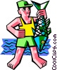 Vector Clipart illustration  of a fisherman