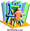 Vector Clipart image  of a Painter with easel and canvass