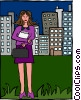 Vector Clip Art graphic  of a young businesswoman