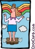 businesswoman flying Vector Clipart illustration