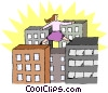 Vector Clip Art image  of a scaling new heights