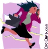 Vector Clipart image  of a businesswoman on the go