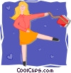 happy lady Vector Clipart picture